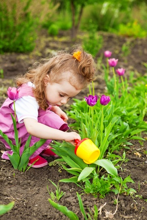 Pequeña flor de riego de chica rizado Foto de archivo