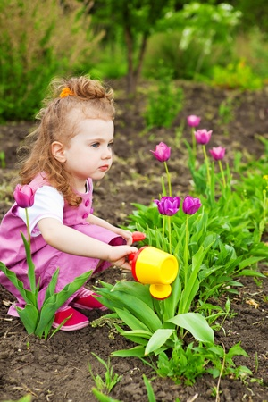 Caucasian preschool girl watering flowers photo