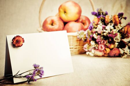 Greeting card with apples in the background photo