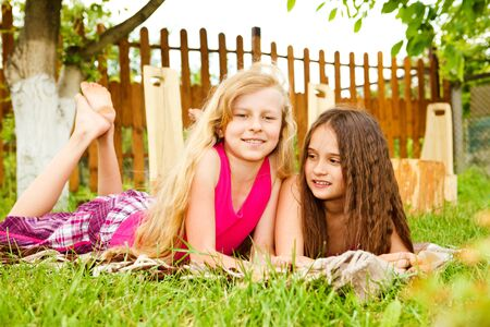 Two friends in the backyard photo