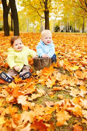 Two happy baby friends in autumn park photo