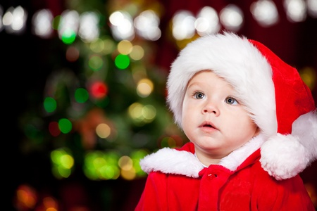 Portrait of a sweet toddler in Santa hat Stock Photo - 10661654