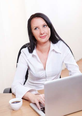 Smiling businesswoman working at laptop Stock Photo - 10803734