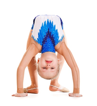 female gymnast: Young artistic gymnast doing bridge, isolated