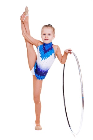 female gymnast: Young rhythmic gymnast with hoop