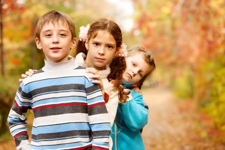 Children group in fall photo