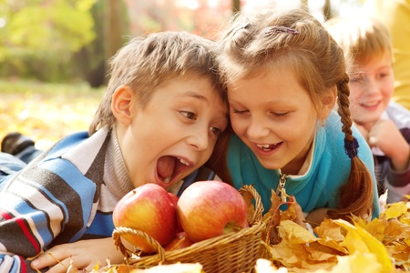 apples basket: Hungry kids biting autumnal apples Stock Photo