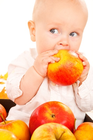 Portrait of a baby eating an apple photo