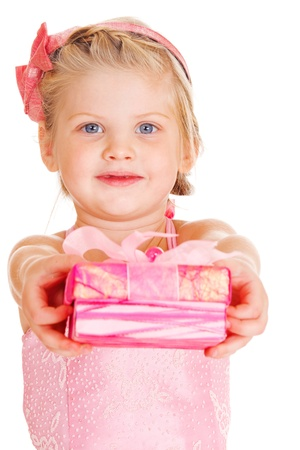 Lovely little girl in pink giving present box photo