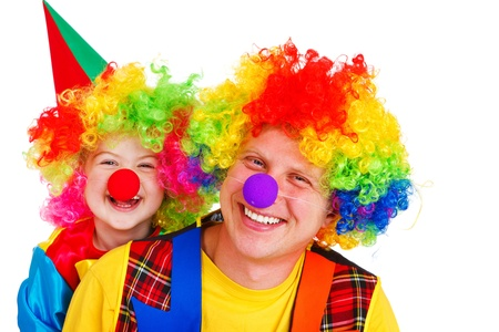 Portrait of adult and little clowns, isolated Stock Photo - 11057029