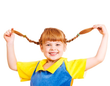 making a face: Funny little red haired girl  Stock Photo