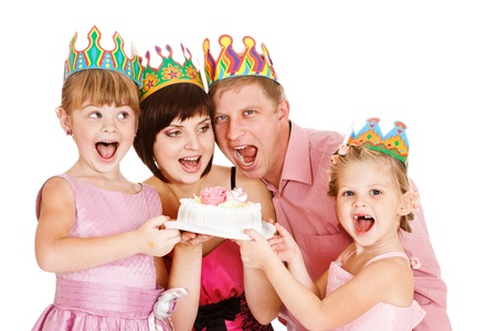 Cheerful family holding cake, isolated photo