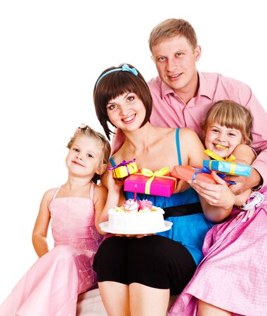 Lovely family celebrating moms birthday photo