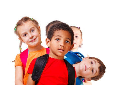 american children: School aged kids with backpacks, isolated