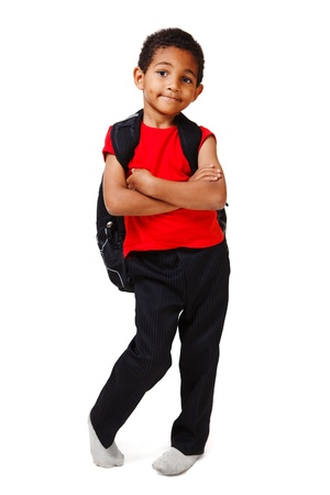 elementary age boys: African american little boy with backpack