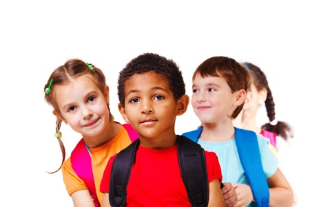 surprised kid: Several children with backpacks, over white