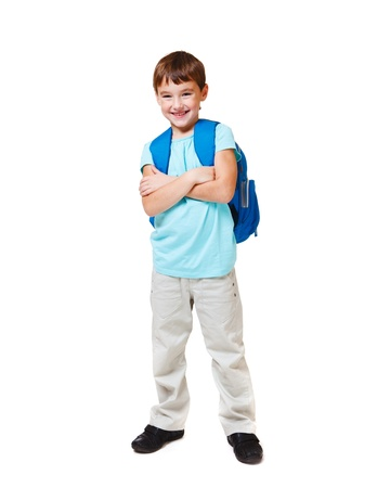 Happy Caucasian student with backpack, over white Stock Photo - 11134001