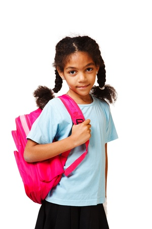 school aged: Smiling african american student  with a pink backpack