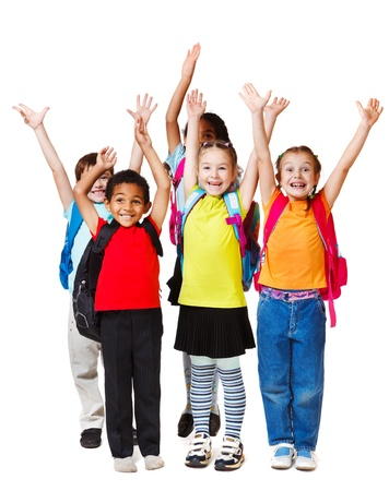 happy children: Children with their hands up, isolated