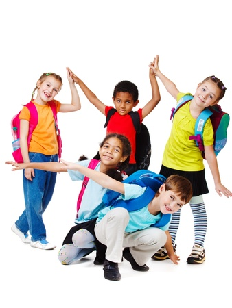 cute kid: Group of laughing kids in bright t-shirts