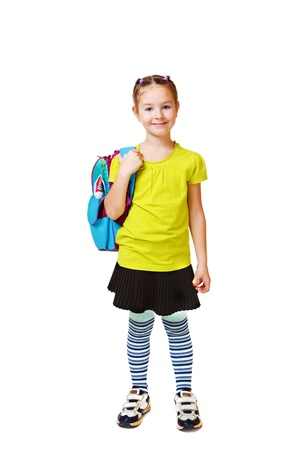 school aged: Smiling student with a bright backpack