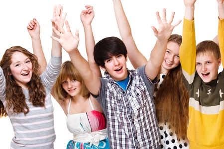 Excited youth, over white background photo