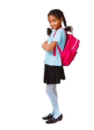 school aged: Lovely african american girl with bright backpack