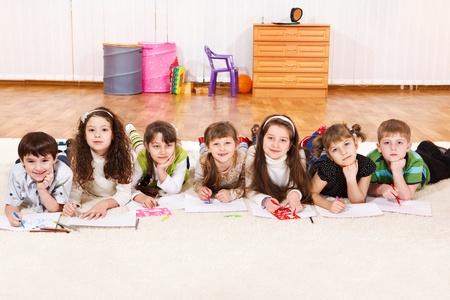 Group of junior students, drawling photo