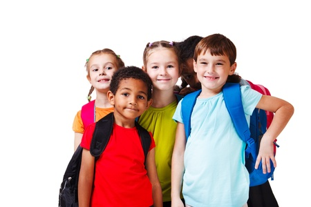 school aged: Kids with backpacks in colorful t-shirts