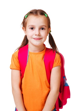 junior student: Portrait of a cute girl in orange t-shirt Stock Photo