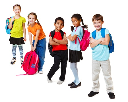 surprised child: School kids group, over white Stock Photo