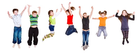 moving activity: Group of jumping children, over white Stock Photo