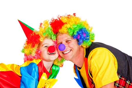 Two smiling clowns, over white photo