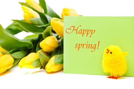Happy spring card and yellow flowers in the background photo