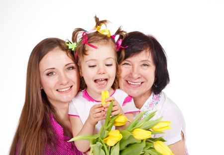 Daughter, mother and grandmother embracing Stock Photo - 12193318