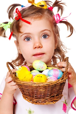 Portrait of a girl holding  Easter eggs in basket photo