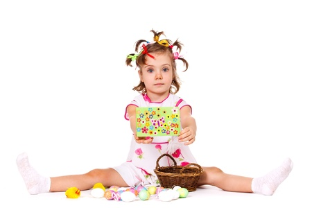 Preschool girl with holiday greeting card Stock Photo - 12393464