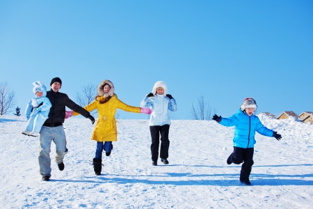 weekend activities: Winter leisure time for happy family  Stock Photo
