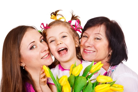 Laughing grandmother with her daughter and granddaughter Stock Photo - 12640417