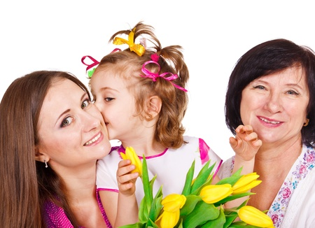 Little girl with her mom and granny celebrating Mother's Day photo