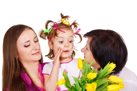 Surprised preschool girl with her mother and granny Stock Photo - 12640418