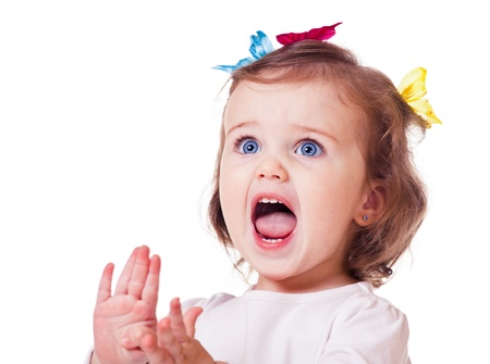 little girl surprised: Emotional kid, protesting or expressing disgust, isolated