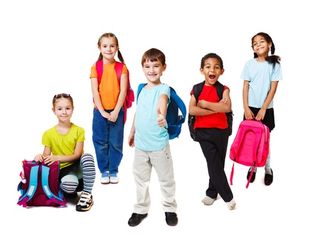 successful student: Primary school students with backpacks Stock Photo