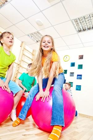Having fun with gymnastic balls