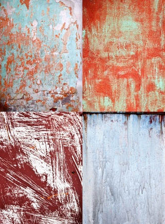 craked: Set of four old rusty surface textures Stock Photo