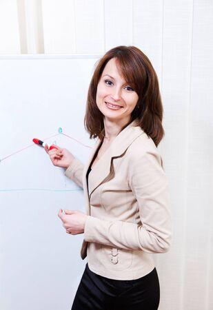 Friendly businesswoman writing on a whiteboard photo