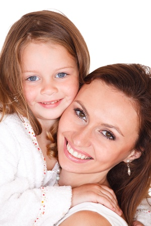 terrycloth: Closeup portrait of smiling young woman and little girl