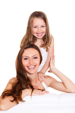 terrycloth: Beautiful preschool girl and her mother