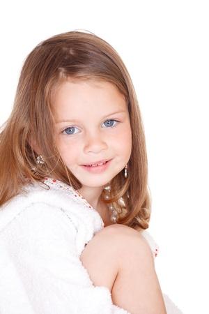 bathrobe: Isolated portrait of a beautiful blond little girl Stock Photo