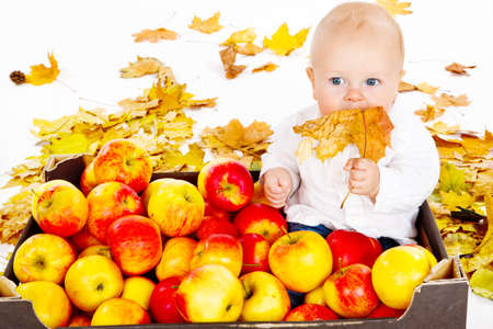 Baby sitting in  box full with autumn apples photo